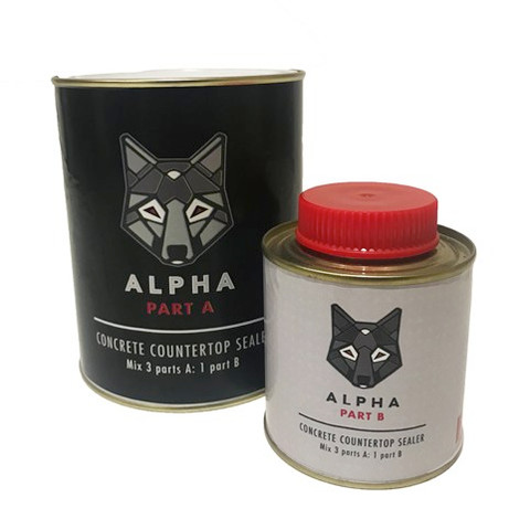 Alpha Concrete Sealer is a specially formulated two part, water borne aliphatic-polyurethane sealer that provides excellent stain and abrasion resistance. Alpha Concrete Sealer is a high- performance, low-sheen and food safe sealer designed for use on concrete countertops, furniture and concrete art.