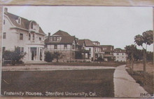Stanford University Postcard - Fraternity Houses 1845