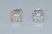 14k Princess Cut Diamond Stud Earrings - EK03
