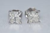 14k Princess Cut Diamond Stud Earrings - EK05