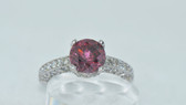 18k Round Cut Fancy Pink Diamond Ring - EK08