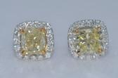 14k Cushion Cut Natural Fancy Yellow Diamond Earrings - EK10