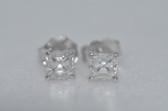 14k Asscher Cut Diamond Stud Earrings - EK11