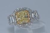 14k Radiant Cut Natural Fancy Yellow Diamond Ring - EK12