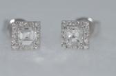 18k Asscher Cut Diamond Stud Earrings - EK19