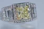 Radiant Cut Natural Fancy Yellow Diamond Ring - EK35