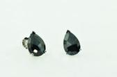 3.08 Carat Black Pear Shape Rose Cut Diamond Stud Earrings - EK38