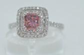 Radiant Cut Fancy Pink & White Diamond Ring - EK48