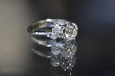CR - Women's 18K White Gold Semi Mount Ribboned Engagement Ring