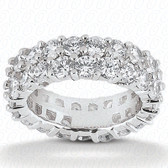 Double Row Shared Prong Round Diamond Eternity Band - EWB288