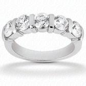 Round Brilliant 5 Stone Bar Set Diamond Wedding Band - WB299-5