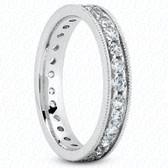 Round Brilliant Pavé Set Milgrain Diamond Eternity Band - MPET1014