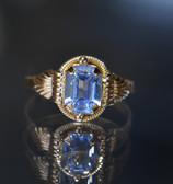 14K Yellow Gold Lab-created Emerald Cut Aquamarine Ring - LC336