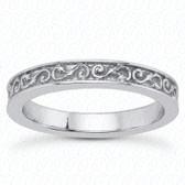 14K White Gold Scroll Designed Wedding Band- ENS3580-B