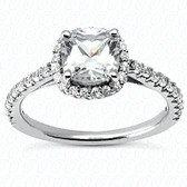 As Shown : Cushion Center Diamond is Approximately 1.50 tcw (6.5mm x 6.5mm)