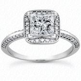 Princess Center Diamond Halo Engagement Ring - ENS3154-A