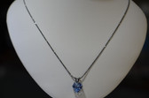 Womens Swarovski Light Sapphire Pendant with Diamond Cut Antique Silver Chain