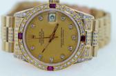 Womens Rolex President 18K Yellow Gold Midsize Diamond & Ruby Watch