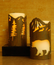 Bear in Mountains - Metal Candle Holder Luminary