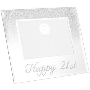 Photo Frame With A Silver Glitter Design On Top Half And Silver Glitter Happy 21st Text Along The Bottom Holds A 4x6 Photo