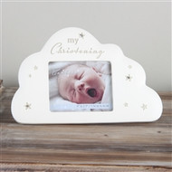 "Cloud Shaped Resin Photo Frame With The Popular Bambino Design With Crystal Stars And ""My Christening"" Text At The Top With A3x2.5"" Apperture. Approx 17cm x 11cm"