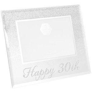 Photo Frame With A Silver Glitter Design On Top Half And Silver Glitter Happy 30th Text Along The Bottom Holds A 4x6 Photo