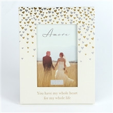 """Photo Frame With The Increasingly Popular Amore Hearts Design - 4x6"""" Apperture"""