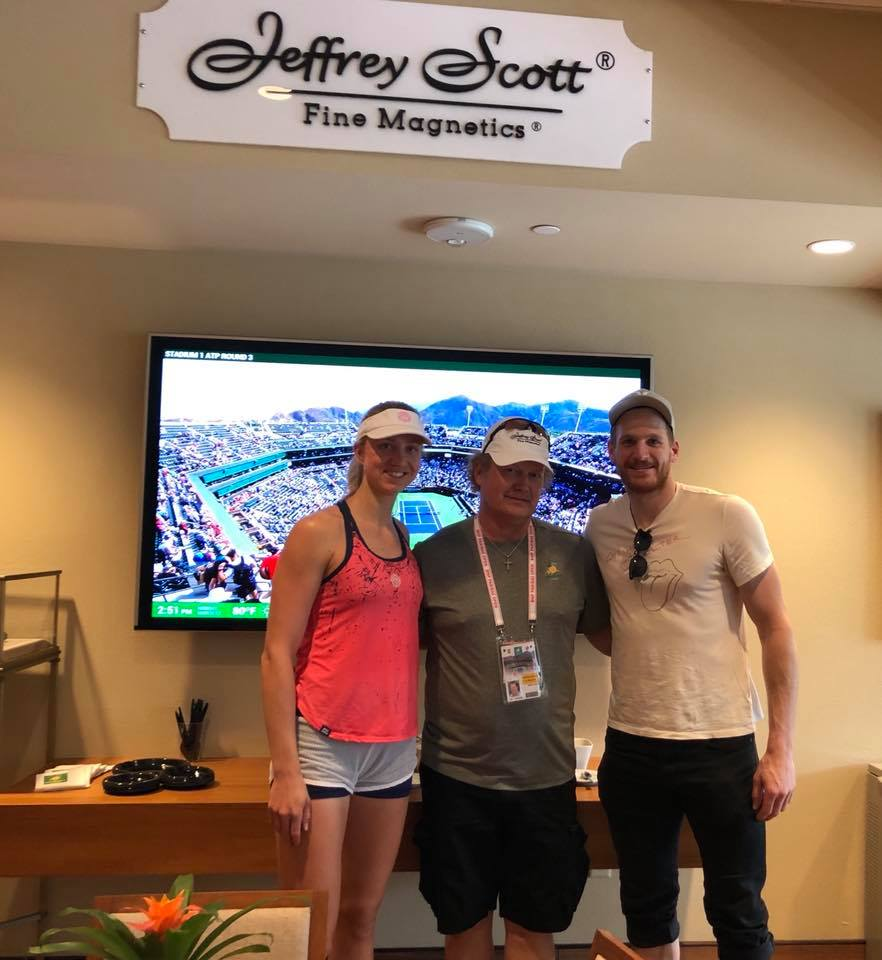 Jeffrey Scott hosting WTA Player, Mona Barthel and Anaheim Ducks NHL/AHL Player Korbinian Holzer in the JS VIP suite to watch Roger Federer live.