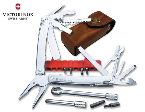 "Victorinox Swiss Army #53806 SwissTool Spirit Plus w/Ratchet 105mm (4.13"") w/Leather Pouch"