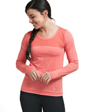 Coolcore Women's 'Interval' Long Sleeve Cooling Tee Shirt - Deep Coral *Free Shipping*