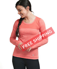 Coolcore Women's 'Interval' Long Sleeve Cooling Tee Shirt - Deep Coral