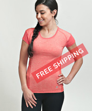 "Coolcore Women's ""Crush It"" Short Sleeve Cooling Tee - Deep Coral"
