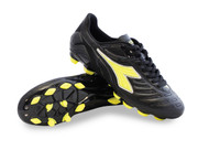 Diadora Men's Maracana 18 MD Molded Soccer Shoe - Black / Fluo Yellow
