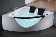 EAGO AM199 5' Rounded Clear Modern Double Seat Corner Whirlpool Bath Tub with Fixtures (AM199)