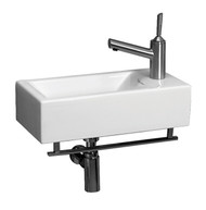 Whitehaus WH1-114RTB Isabella Wall Mount Basin with Towel Bar and Single Right Side Faucet Hole.