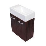 Whitehaus WH114LSCB-E Isabella Wall Mount Double Door Vanity with White Basin.
