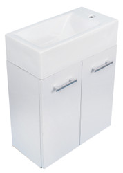 Whitehaus WH114LSCB-W Isabella Wall Mount Double Door Vanity with White Basin.