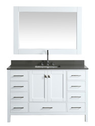 """London 54"""" Vanity in White with Quartz Vanity Top in Gray with White Basin and Mirror"""