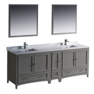"Fresca Oxford 84"" Gray Traditional Double Sink Bathroom Vanity"