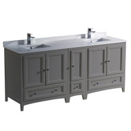 "Fresca Oxford 72"" Gray Traditional Double Sink Bathroom Cabinets w/ Top & Sinks"