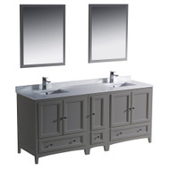 "Fresca Oxford 72"" Gray Traditional Double Sink Bathroom Vanity w/ Side Cabinet"