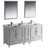 "Fresca Oxford 72"" Antique White Traditional Double Sink Bathroom Vanity w/ Side Cabinet"