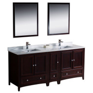 "Fresca Oxford 72"" Mahogany Traditional Double Sink Bathroom Vanity w/ Side Cabinet"