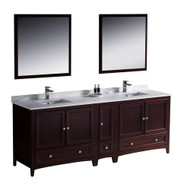 "Fresca Oxford 84"" Mahogany Traditional Double Sink Bathroom Vanity w/ Side Cabinet"
