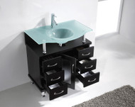 """Virtu USA Vincente 32"""" Single Bathroom Vanity Cabinet in Espresso w/ Frosted Tempered Glass Counter-Top"""