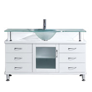 """Virtu USA Vincente 55"""" Single Bathroom Vanity in White w/ Frosted Tempered Glass Counter-Top"""