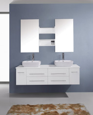"""Virtu USA Augustine 59"""" Double Bathroom Vanity Cabinet Set in White w/ White Artificial Stone Counter-Top"""