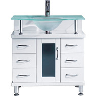 """Virtu USA Vincente 32"""" Single Bathroom Vanity Cabinet in White w/ Frosted Tempered Glass Counter-Top"""