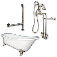 "Cambridge Plumbing Cast Iron Slipper Clawfoot Tub 67"" X 30"" with no Faucet Drillings and Complete Brushed Nickel Free Standing English Telephone Style Faucet with Hand Held Shower Assembly Plumbing Package"