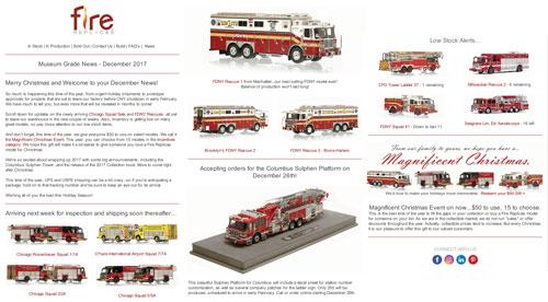 Fire Replicas December Holiday News